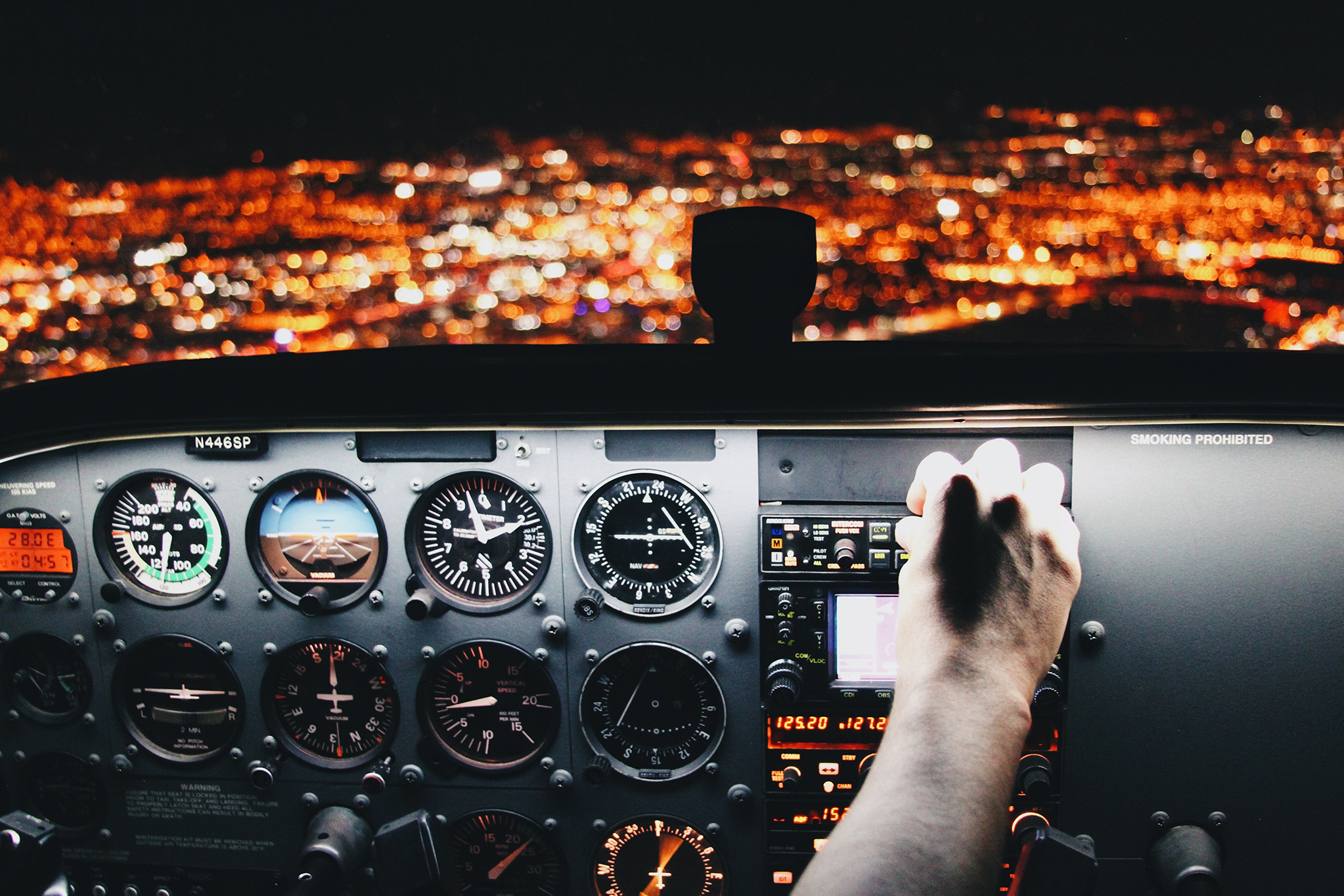 The controls of a plane